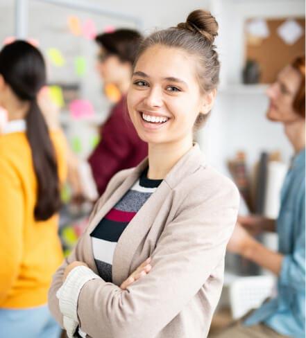 a women smiling at camera