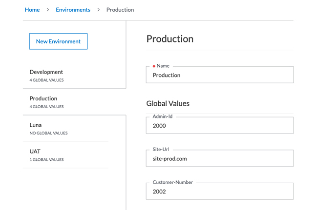 Example environment called production in Testfully