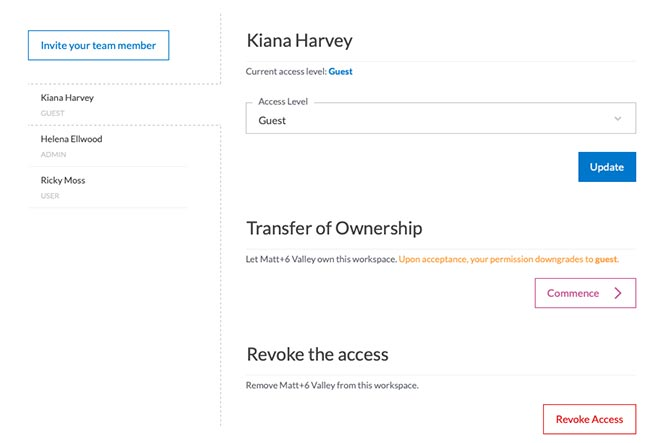 UI to invite new member and manage existing members of your workspace